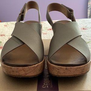 Clark's Stasha Hale Leather Crossband Wedge Sandal